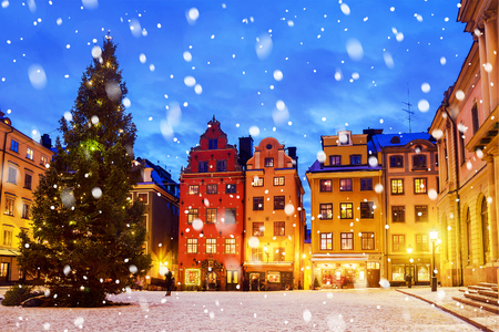 Photo for Stortorget square decorated to Christmas time at night, Stockholm, Sweden. - Royalty Free Image
