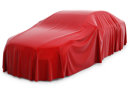 Foto de Presentation of the new car. Car covered with a red cloth. - Imagen libre de derechos