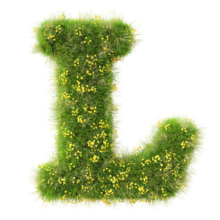 Photo pour Alphabet from the green grass and flowers. isolated on white. - image libre de droit