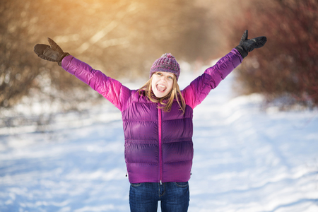 Photo for Cute cheerful and happy girl in a state of delight - Royalty Free Image