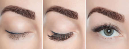 Photo for Eyelash extension procedure close up. Beautiful Woman with long lashes in a beauty salon. - Royalty Free Image