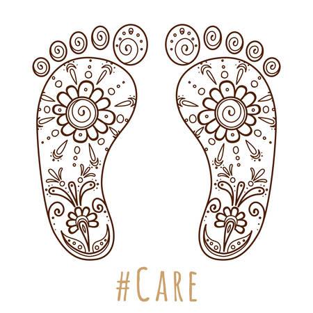 Ilustración de Footprint with floral mehndi ornament. Sketch of legs, skin care theme, pedicure or procedures. Illustration beauty and health. Vector illustration - Imagen libre de derechos