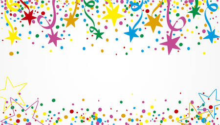 Illustration for Background of a party with many confetti, streamers and stars at day - Royalty Free Image
