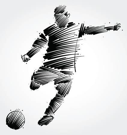 Ilustración de Soccer player kicking the ball made of black brushstrokes on light background - Imagen libre de derechos