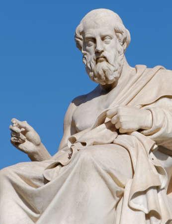 Foto de Plato the greek philosopher statue on blue sky background - Imagen libre de derechos