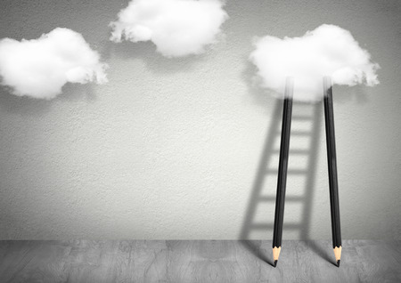 Foto de idea creative concept, pencil Ladder to clouds - Imagen libre de derechos