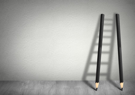 Photo for success creative concept, pencil Ladder with copy space - Royalty Free Image