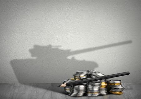 Photo pour financing war concept, money with tank shadow - image libre de droit