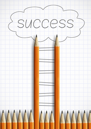 Photo pour success creative concept, pencil Ladder with steps - image libre de droit
