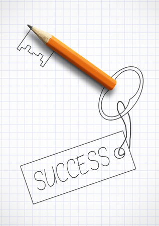 Photo pour Key to success concept, drawn key - image libre de droit