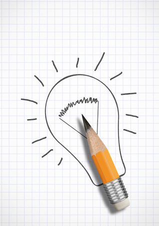Photo pour Creative idea concept, pencil with drawn bulb - image libre de droit