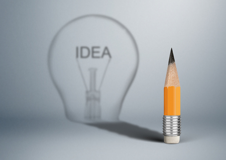 Photo pour Creative idea concept, pencil with bulb shadow - image libre de droit