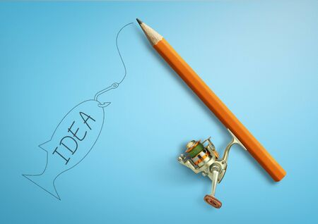 Photo pour Idea creative concept, pencil as fishing rod - image libre de droit