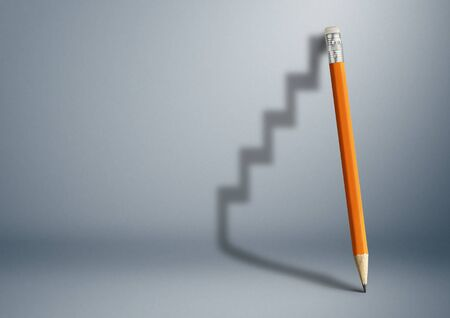 Photo pour Successful effort and challenge in business concept, pencil stairs. - image libre de droit