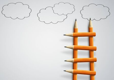 Photo pour Steps to success concept, pencil ladder with clouds and copy space - image libre de droit