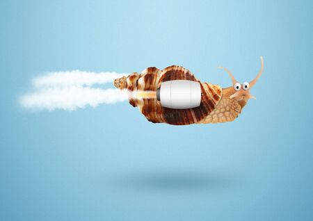 Photo pour Speed and success concept, snail with jet - image libre de droit