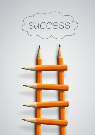 Photo pour Stairs to success, business concept, pencil ladder - image libre de droit