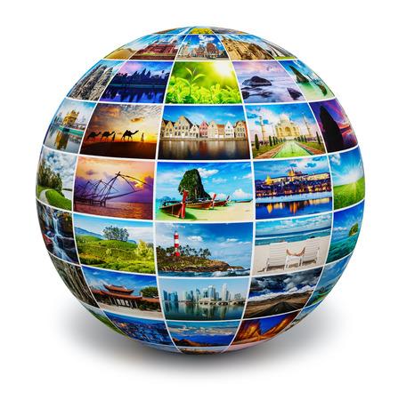 Photo pour Globe with travel photos - image libre de droit