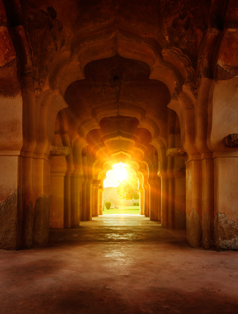 Photo for Old ruined arch in ancient palace at sunset - Royalty Free Image