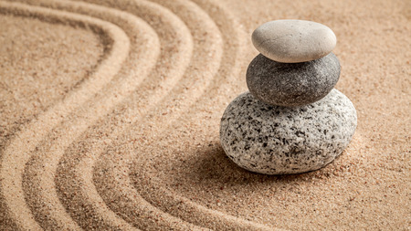 Photo pour Japanese Zen stone garden - relaxation, meditation, simplicity and balance concept  - panorama of pebbles and raked sand tranquil calm scene - image libre de droit