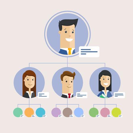 Illustration pour Hierarchy of company, persons. Flat illustration. - image libre de droit
