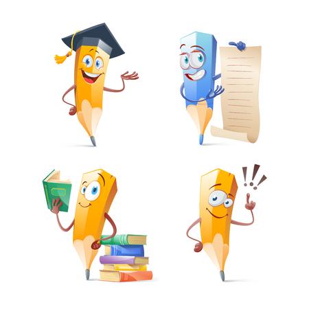Illustrazione per Set of cute funny pencil cartoon. Education concept illustration. - Immagini Royalty Free