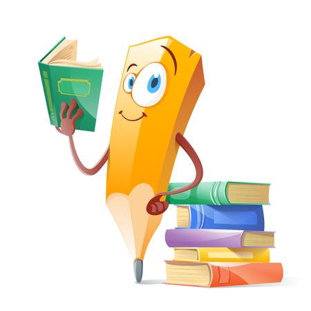 Illustrazione per Funny pensil with books. Education concept. - Immagini Royalty Free