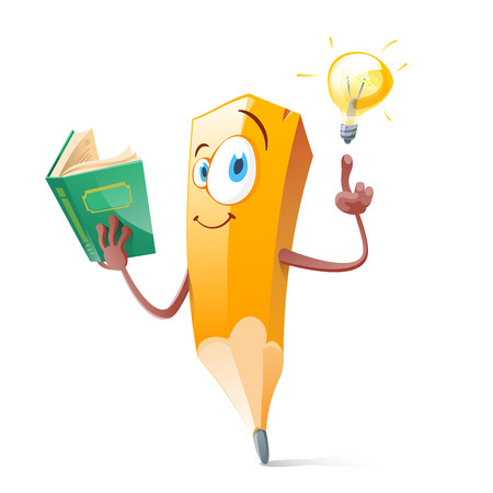 Illustrazione per Funny pensil with book and idea lamp. - Immagini Royalty Free