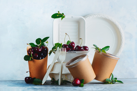 Photo pour Catering disposables, cups, plates and containers with cherries. Eco-friendly food packaging on a neutral gray background with copy space. Preserving nature and recycling concept. - image libre de droit