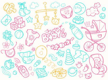 Foto für Newborn infant themed doodle set. Baby care, feeding, clothing, - Lizenzfreies Bild