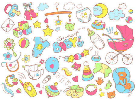 Foto für Newborn infant themed cute doodle set. Baby care, feeding, clothing, toys, health care stuff, safety, accessories. Vector drawings isolated - Lizenzfreies Bild