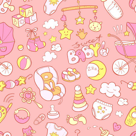 Foto für Newborn infant themed cute doodle seamless pattern. Baby care, feeding, clothing, toys, health care stuff, safety, accessories. Vector drawings isolated - Lizenzfreies Bild
