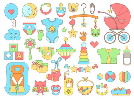 Foto für Newborn infant themed cute flat set. Baby care, feeding, clothing, toys, health care stuff, safety, accessories. Vector drawings isolated collection - Lizenzfreies Bild