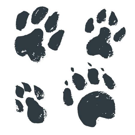 Ilustración de Black hand drawn isolated wild animal footprints. Grunge ink ill - Imagen libre de derechos