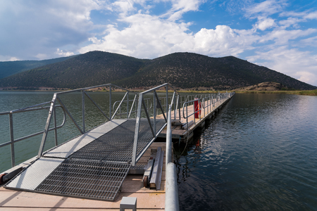 Photo pour View of the floating bridge in the Mikri (Small) Prespa Lake in northern Greece - image libre de droit
