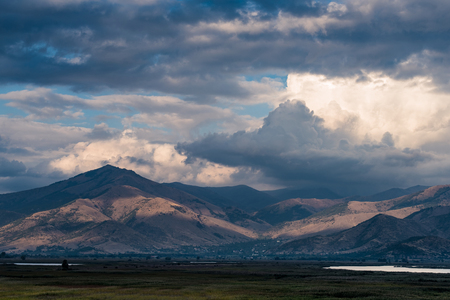 Photo pour Landscape with mountain in clouds at the area of Prespes Lakes in northern Greece - image libre de droit