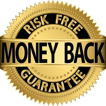 Illustration pour Money back guarantee golden label,  illustration - image libre de droit