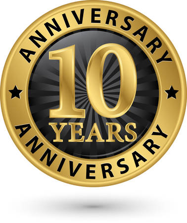 Illustration for 10 years anniversary gold label, vector illustration - Royalty Free Image
