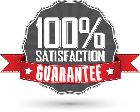 Illustration pour Satisfaction guarantee retro label with red ribbon, vector illustration - image libre de droit