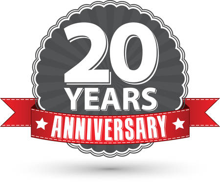 Illustration for Celebrating 20 years anniversary retro label with red ribbon, vector illustration - Royalty Free Image