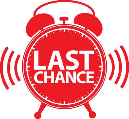 Illustration pour Last chance alarm clock icon, vector illustration - image libre de droit