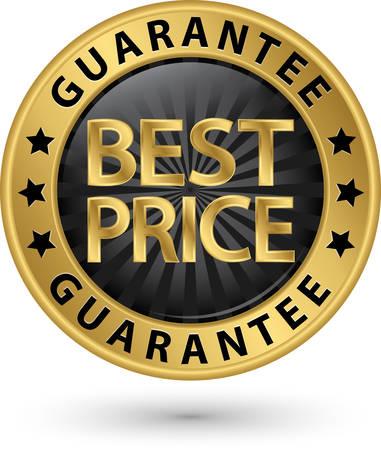 Illustration pour Best price guarantee golden label, vector illustration - image libre de droit