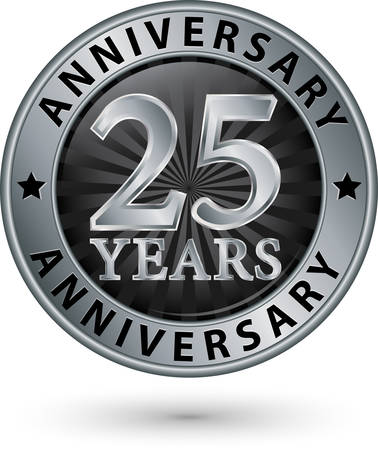 Illustration for 25 years anniversary silver label, vector illustration - Royalty Free Image
