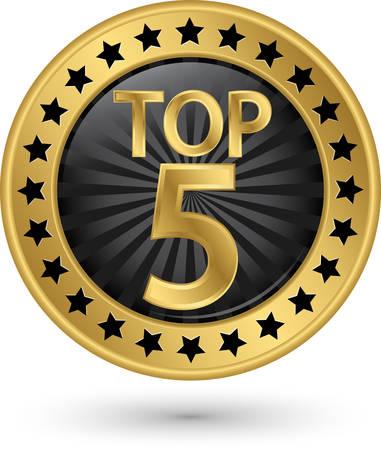 Ilustración de Top 5 golden label, illustration - Imagen libre de derechos