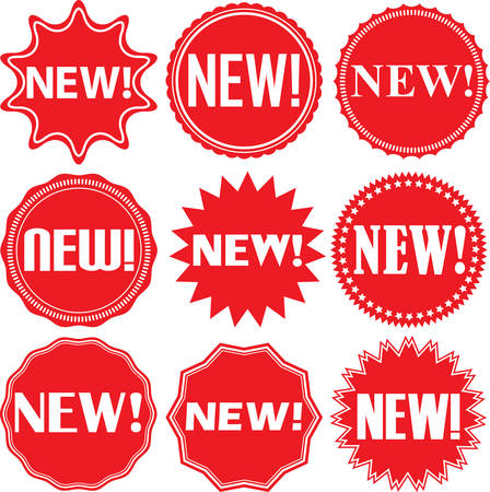 Illustration for New signs set, new sticker set, vector illustration - Royalty Free Image