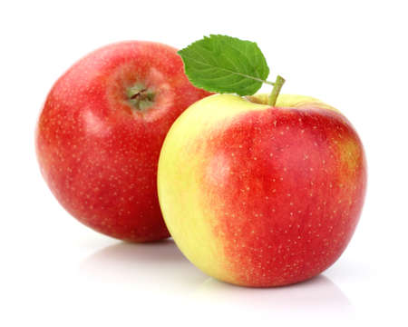 Photo for Ripe apples with leaf - Royalty Free Image