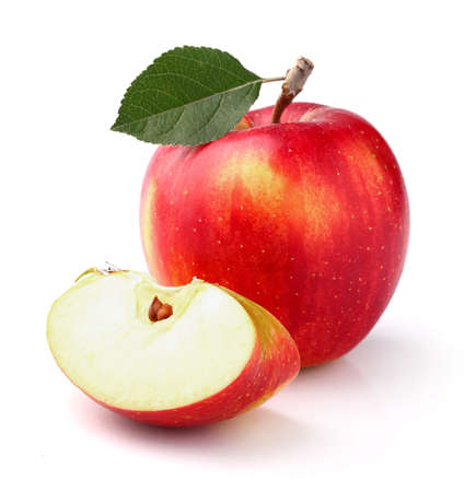 Photo pour Red apple with leaf - image libre de droit