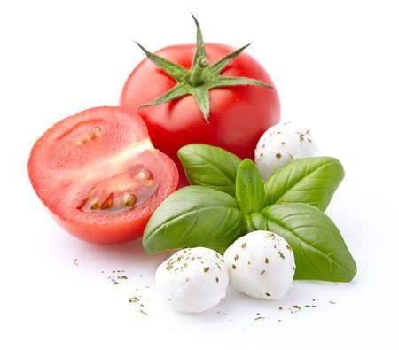 Photo pour Mozzarella, tomatoes, basil spice - image libre de droit