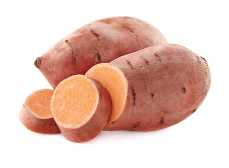 Photo for Sweet potato in closeup on a white background - Royalty Free Image