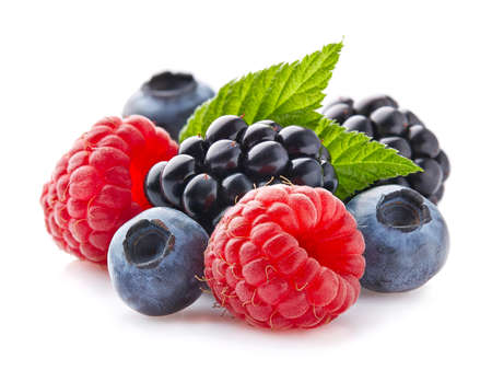Photo pour Mix berries with leaf - image libre de droit